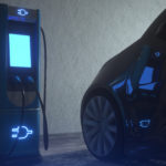 Dark electric car in EV charging station. 3D rendering image